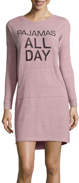Asstd National Brand Peace, Love, and Dreams Long Sleeve Sweaterknit Nightshirt-Juniors