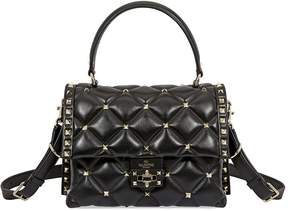 Valentino Candystud Quilted Leather Crossbody Bag- Black