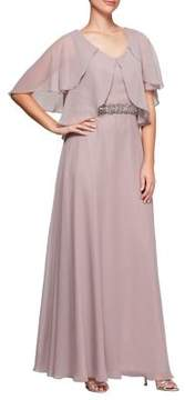 Alex Evenings Embellished Tiered Flutter A-Line Gown