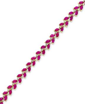 Effy Certified Ruby (9-5/8 ct. t.w.) & Diamond (7/8 ct. t.w.) Link Bracelet in 14k Gold