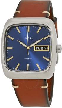 Fossil Rutherford Blue Dial Brown Leather Men's Watch