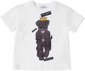 Dolce & Gabbana Dog Printed Cotton Jersey T-Shirt