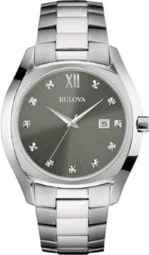 Bulova Diamond Gallery Silver/Grey Analog Quartz Watch