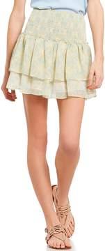 Chelsea & Violet Printed Smocked Ruffle Skirt