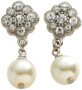 1928 Silver-Tone Simulated Crystal & Simulated Pearl Drop Earrings