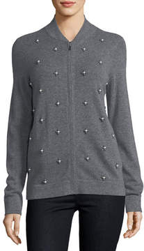 Neiman Marcus Cashmere Pearl-Embellished Zip-Front Cardigan