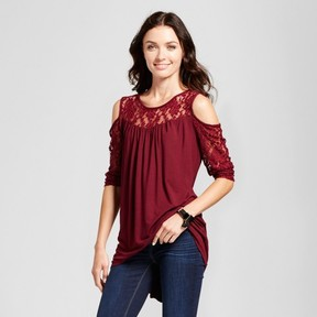 Notations Women's Knit and Lace Cold Shoulder Blouse