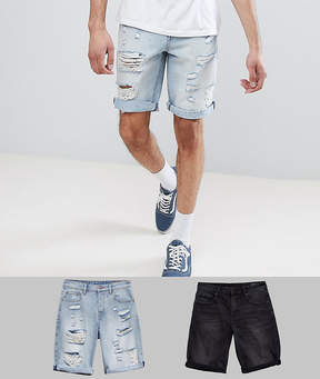 Asos DESIGN Tall Denim Shorts In Slim Washed Black & Light Wash With Heavy Rips