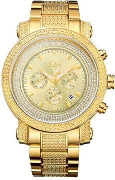 JBW Victor Gold-tone Steel Case Gold-tone Crystal Embedded Chronograph Dial Men's Watch