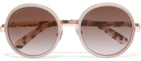 Jimmy Choo Glittered Round-frame Acetate Sunglasses - Gold