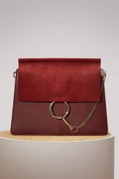 Chloé Faye Suede And Smooth Calfskin Shoulder Bag