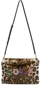 Dolce & Gabbana Beige Faux-Fur Leopard Cleo Pouch