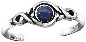Celtic Navy Opal & Silver-Plated Scroll Adjustable Toe Ring