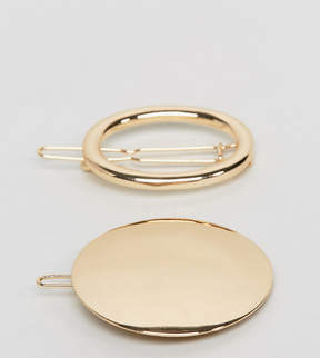 Asos Pack of 2 Solid and Open Circle Hair Clips
