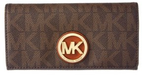 MICHAEL Michael Kors Fulton Mk Signature Wallet. - BROWN - STYLE