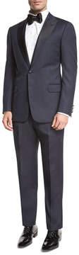 Armani Collezioni Textured Two-Piece Tuxedo with Satin Peak Lapel, Navy
