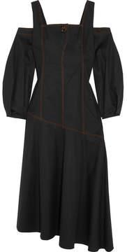 Ellery Mississippi Cold-shoulder Cotton-blend Twill Midi Dress - Black