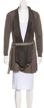 Brunello Cucinelli Belted Leather-Trimmed Cardigan