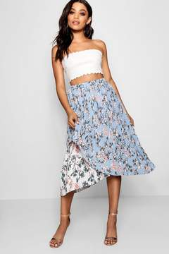 boohoo Woven Floral Pleated Asymetric Skater Skirt