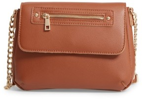 Bp. Faux Leather Zip Flap Crossbody Bag - Brown