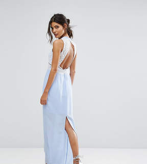 Elise Ryan Contrast Lace Maxi Dress With Open Back