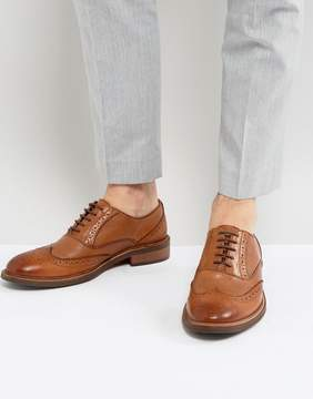 Dune Pebble Brogues In Tan Leather