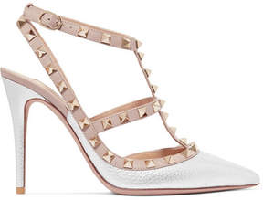 Valentino Rockstud Metallic Textured-leather Pumps - Silver