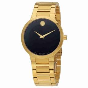 Movado Modern Classic Black Dial Yellow Gold PVD Men's Watch 0607121