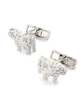 Dunhill Bulldog Rhodium-Plated Cuff Links