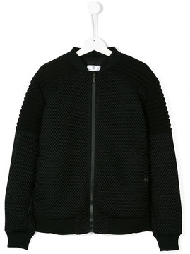 Versace textured zip up bomber jacket