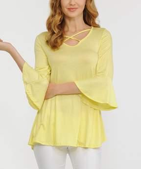 Celeste Yellow Crisscross Bell-Sleeve Tunic - Women
