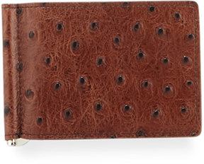 Neiman Marcus Ostrich-Embossed Flip Clip Small Wallet