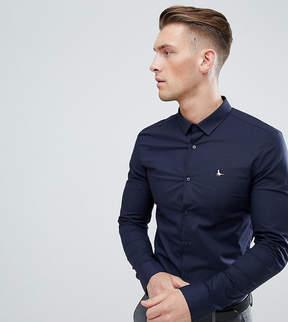 Jack Wills Hinton Skinny Poplin Stretch Fit Shirt in Navy