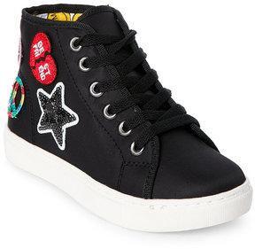 Steve Madden Kids Girls) Black JCoded Appliquéd High Top Sneakers