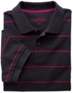 Charles Tyrwhitt Navy and Berry Stripe Pique Cotton Polo Size Medium