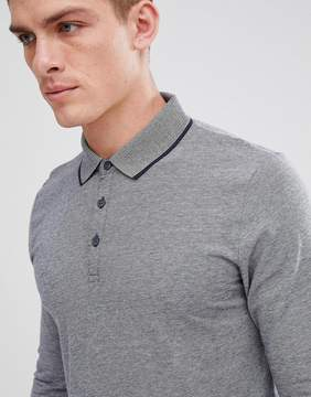 Esprit Long Sleeve Polo With Stripped Collar