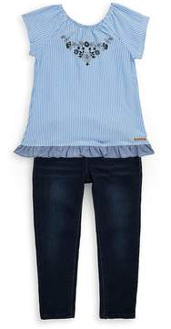 Hudson Little Girl's Two-Piece Striped Top and Jeans Set