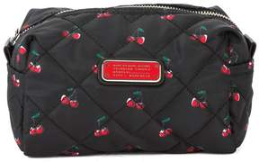 Marc Jacobs Black Quilted Nylon Cherry Print Large Cosmetics Case (New with Tags)