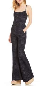 Chelsea & Violet Lace-Up Tie Back Flare Leg Printed Denim Jumpsuit