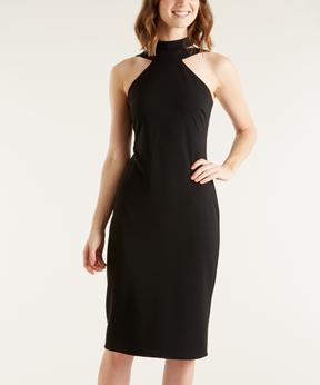 Bebe Black Yoke Dress