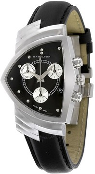Hamilton Ventura Chrono Black Dial Black Strap Men's Watch