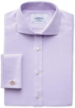 Charles Tyrwhitt Extra Slim Fit Spread Collar Non-Iron Herringbone Lilac Cotton Dress Shirt French Cuff Size 15.5/36