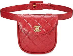 Chanel Red Quilted Caviar Belt Bag 30