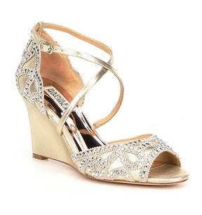Badgley Mischka Winter Metallic Suede Cross Strap Buckle Wedge Dress Sandals