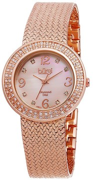 Burgi Pink Mother of Pearl Diamond Dial Rose Gold-tone Brass Ladies Watch