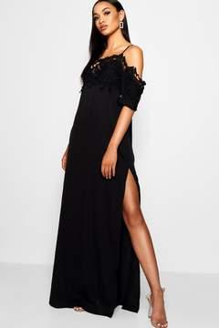 boohoo Tall Amy Crochet Lace Trim Maxi Dress