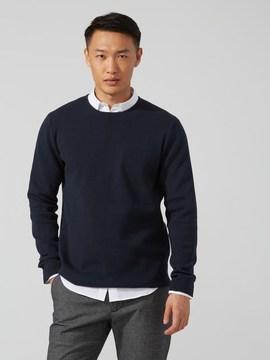 Frank and Oak Milano-Stitch Cotton Crewneck Sweater in Dark Sapphire