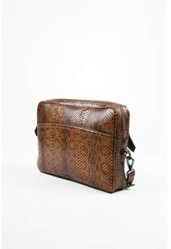 Reed Krakoff Pre-owned Brown Black Python Skin Zip Oversized Wristlet Clutch Bag.
