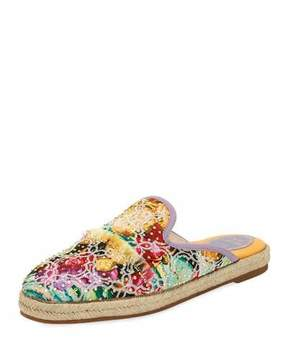 Rene Caovilla Studded Embroidered Flat Espadrille Mule