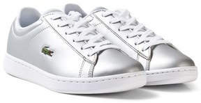 Lacoste Silver Kids Faux Leather Carnaby Trainers